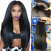 Light Yaki Human Hair Malaysian Hair Bundles Yaki Straight Natural Black Can By 3 or 4 Piece For Full Head Remy