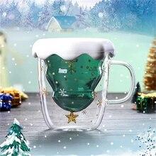 Креативная Рождественская стеклянная чашка Рождественская елка Звездная чашка высокотемпературная кружка инновационная двойная чашка для воды Двойная настенная чашка подарки