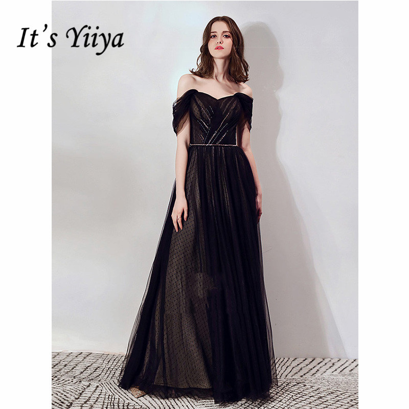 It's Yiiya Evening Dress Summer 2019 Black Dot Pattern Boat Neck A-Line Dresses Sleeveless Elegant Lace Up Robe De Soiree E1106