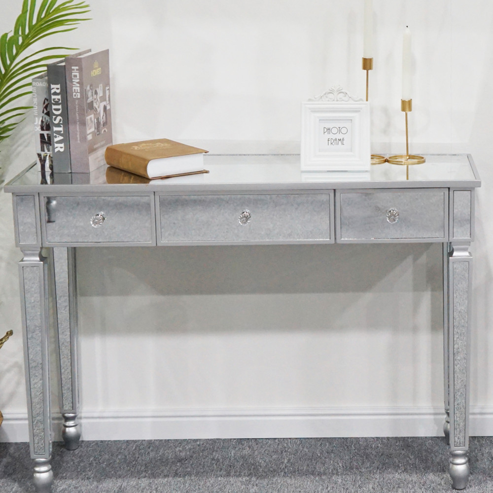 3-Drawers Mirror Dresser Dressing Table Console Table 106x38x76CM Easy Assemble Clean[US-Stock] 1