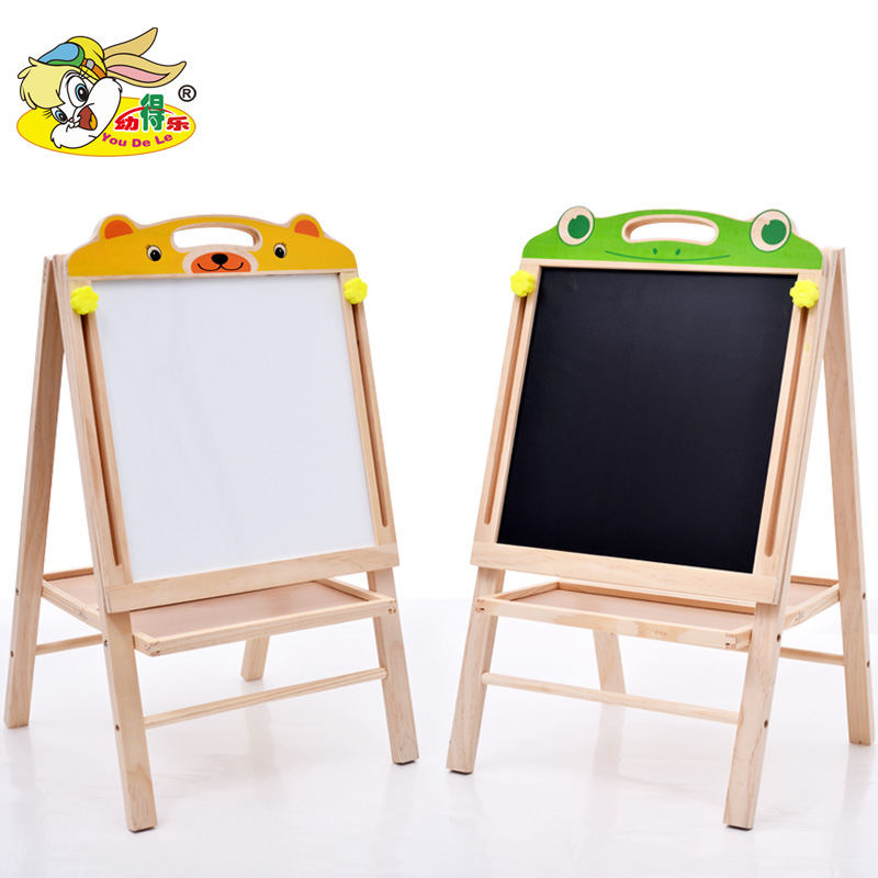 Wooden Lifting Blackboard Folding Painted Magnetic Drawing Board Children Learning Educational Toy Double-Sided Braced Writing B