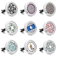 Car Air Freshener 30mm Magnetic Lockets Tree of Life Perfume Essential Oil Diffuser Aromatherapy Pendant Vent Clip + 1pcs Pad