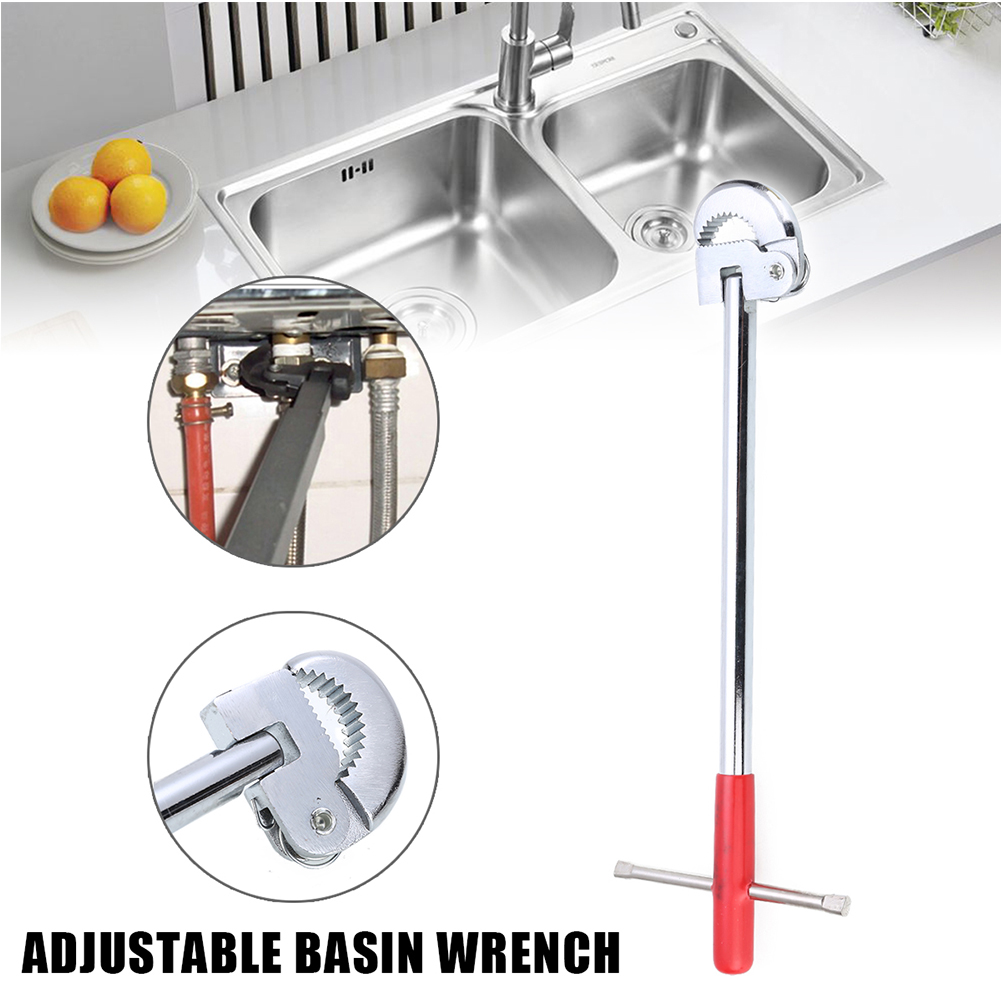 11inch T Type Plumbing Tool Durable Kitchen Sink Telescopic Practical Basin Wrench Steel Portable Adjustable Bath Tap Spanner|Wrench| |  - title=