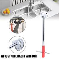 11inch T Type Plumbing Tool Durable Kitchen Sink Telescopic Practical Basin Wrench Steel Portable Adjustable Bath Tap Spanner|Wrench| |  -