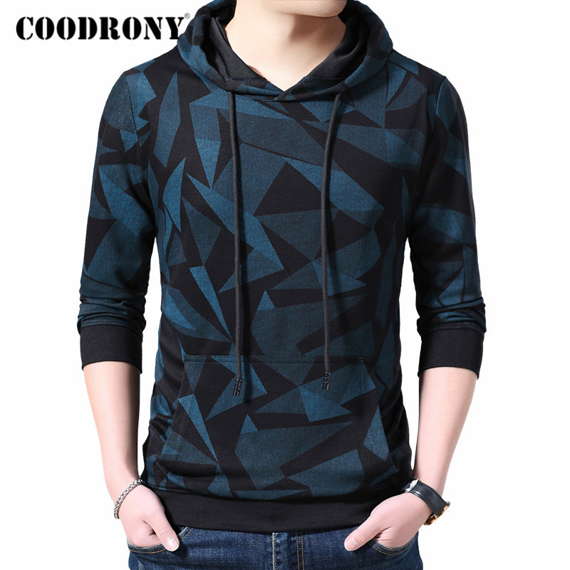 COODRONY Brand Mens Hoodies Streetwear Fashion Pattern Pullover Hoodie Men Autumn Winter Casual Hooded Sweatshirt Men Tops 94008