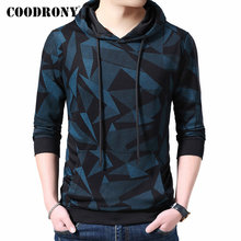 COODRONY marka erkek Hoodies Streetwear moda desen svetşört erkekler sonbahar kış rahat kapüşonlu Sweatshirt erkekler Tops 94008