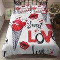 Набор постельного белья Sweet Love с красными губами  сердечком  мороженым  пододеяльник  стеганное одеяло для девочек  комплект с одной двойной ...