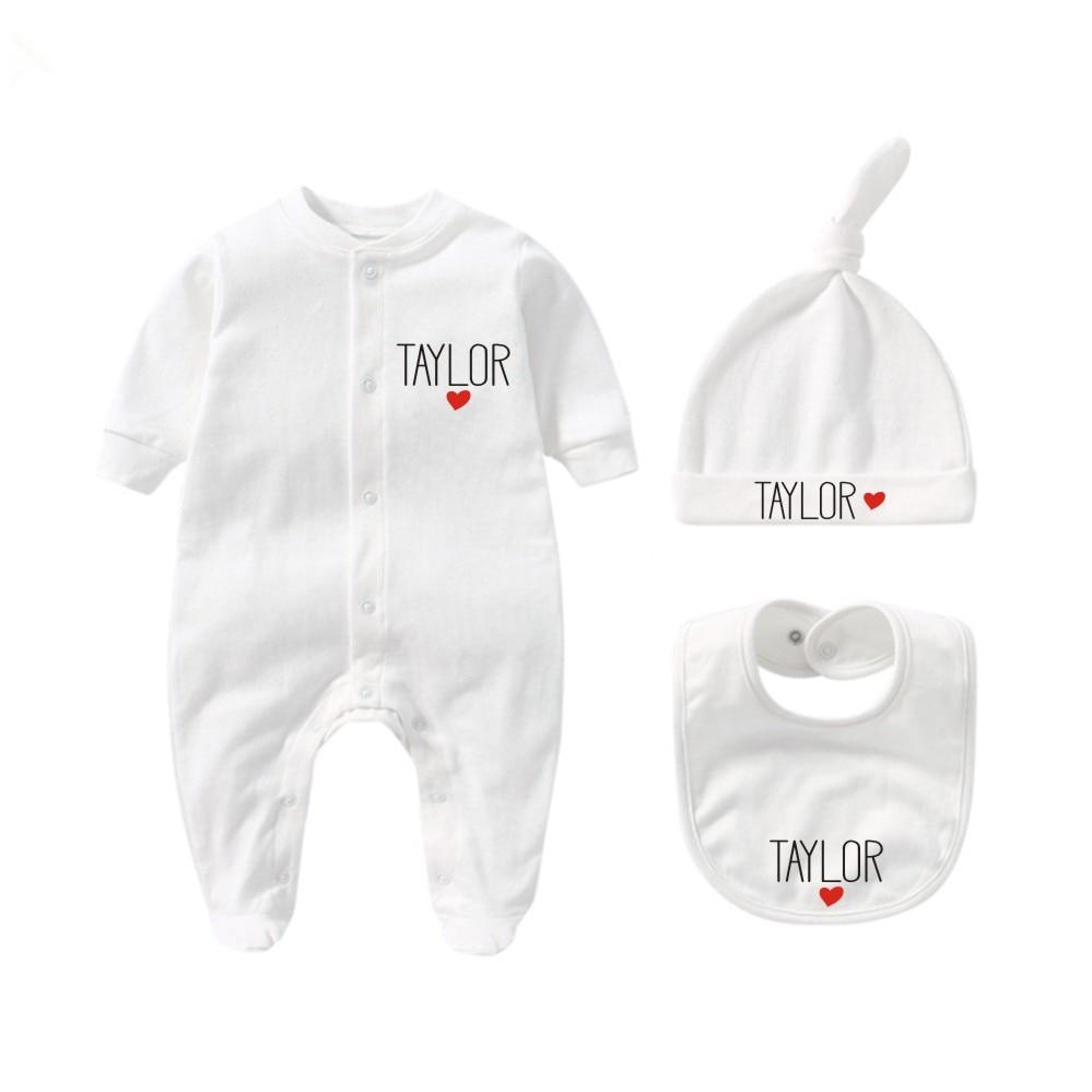 Индивидуальный комплект одежды для новорожденных с шапкой и нагрудником, индивидуальный детский цельный Комплект боди, подарок для будуще...