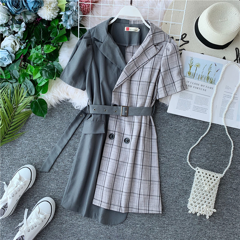 2019 Women Summer Plaid Dress Office Lady Turn-down Collar A-line Patchwork Mini Vestidos With Sashes