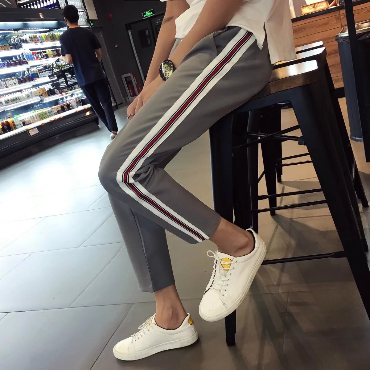Literature And Art Men And Women Capri Pants Summer Teenager New Style Ribbon Versatile Korean-style Trend Casual Pants 9 Points