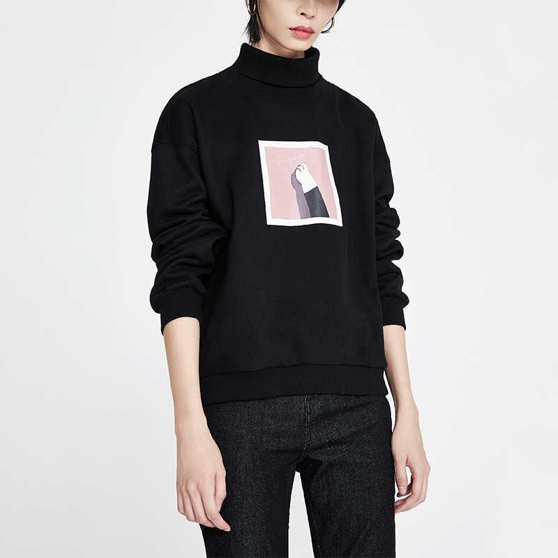 Toyouth drukowany napis z długim rękawem bluzy z golfem dla kobiet sweter zimowy bluzki Casual dresy damskie bluzy