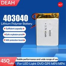3.7V 450mAh 403040 litowo-polimerowy akumulator litowo-jonowy do MP3 MP4 GPS tachograf Bluetooth wideorejestrator samochodowy głośniki