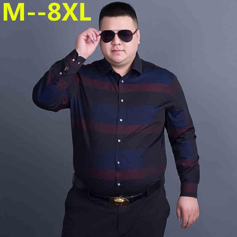Plus Large Size 10XL 9XL 8XL 7XL 6XL 5XL 4XL Mens Business Casual Long Sleeved Shirt Classic Striped Male Social Dress Shirts