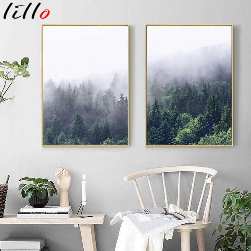 Скандинавские настенные постеры, Туманный лес, холст, живопись, природный пейзаж, скандинавский постер, рамки для стены для гостиной, домашний декор