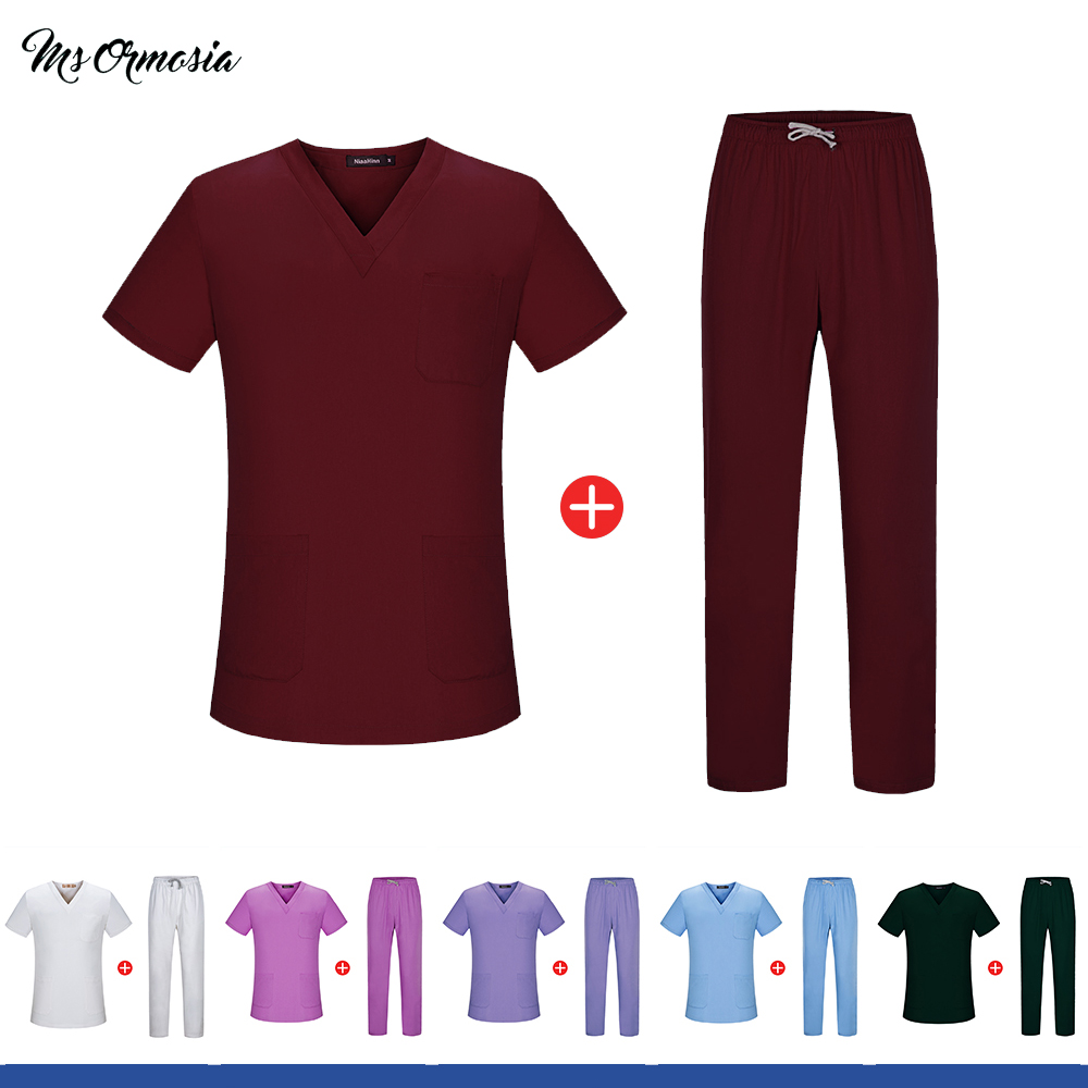 Solid Color Beauty Salon Uniform Dentistry Nurse Doctor Medical Surgical Clothing Uniform Pharmacy Scrub Tops And Pants Outfit