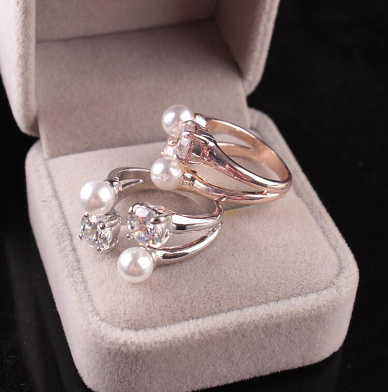 Gifts Zircon ring 1 piece Fashion Crystal Fine New Pearl Ring Adjustable Opening