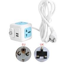 Multiprise avec filtre réseau, prise EU UK, multiprise, interrupteur principal, 4 prises universelles, 2 USB, rallonge de 2/3M, adaptateur dalimentation
