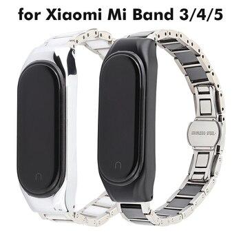 correa mi band 5 strap ceramic for Xiaomi Mi band 4 strap bracelet pulseira Mi band 3 luxury stainless steel metal accessories