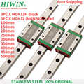 Free Shipping 3pcs Original HIWIN  stainless steel linear guide rail  MGN12  350mm/400mm/500mm + 3pcs carriage MGN12H blocks CNC