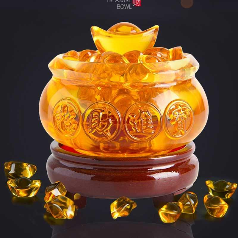 Yellow Crystal Glaze Chinese Fengshui Wealth Yuanbao Dragon Treasure Bowl Statue Aliexpress