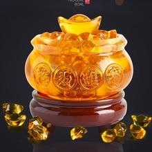 Yellow Crystal Glaze Chinese Fengshui Wealth Yuanbao Dragon Treasure Bowl Statue