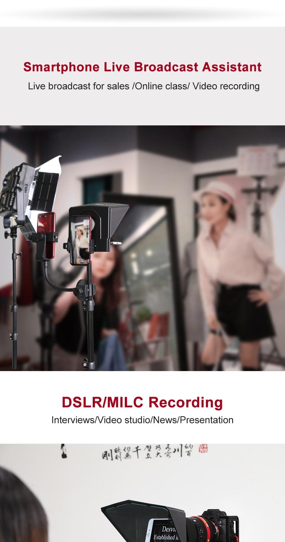 02 Skoða Portable Teleprompter fyrir snjallsíma  spjaldtölvu  DSLR myndavél fyrir YouTube Interview Studio Bestview T2 með fjarstýringu