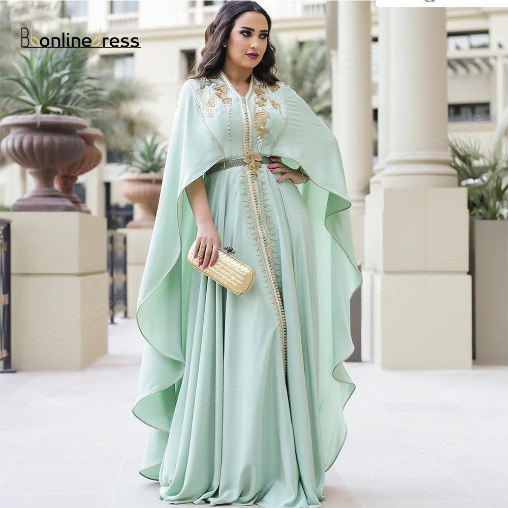 Bbonlinedress Moroccan Kaftan Evening Dresses Emboridery Appliques Long Evening Dress With Jacket Arabic Abaya Party-Dress Cafut