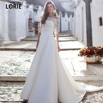 LORIE Off the Shoulder Satin Bridal Gowns Half Sleeve Lace Back illusion Beach Boho Wedding Dresses Princess Party Gown New 2020 lorie half sleeves champagne wedding dresses with pocket elegant satin lace ball gown bridal gowns back illusion bride dress