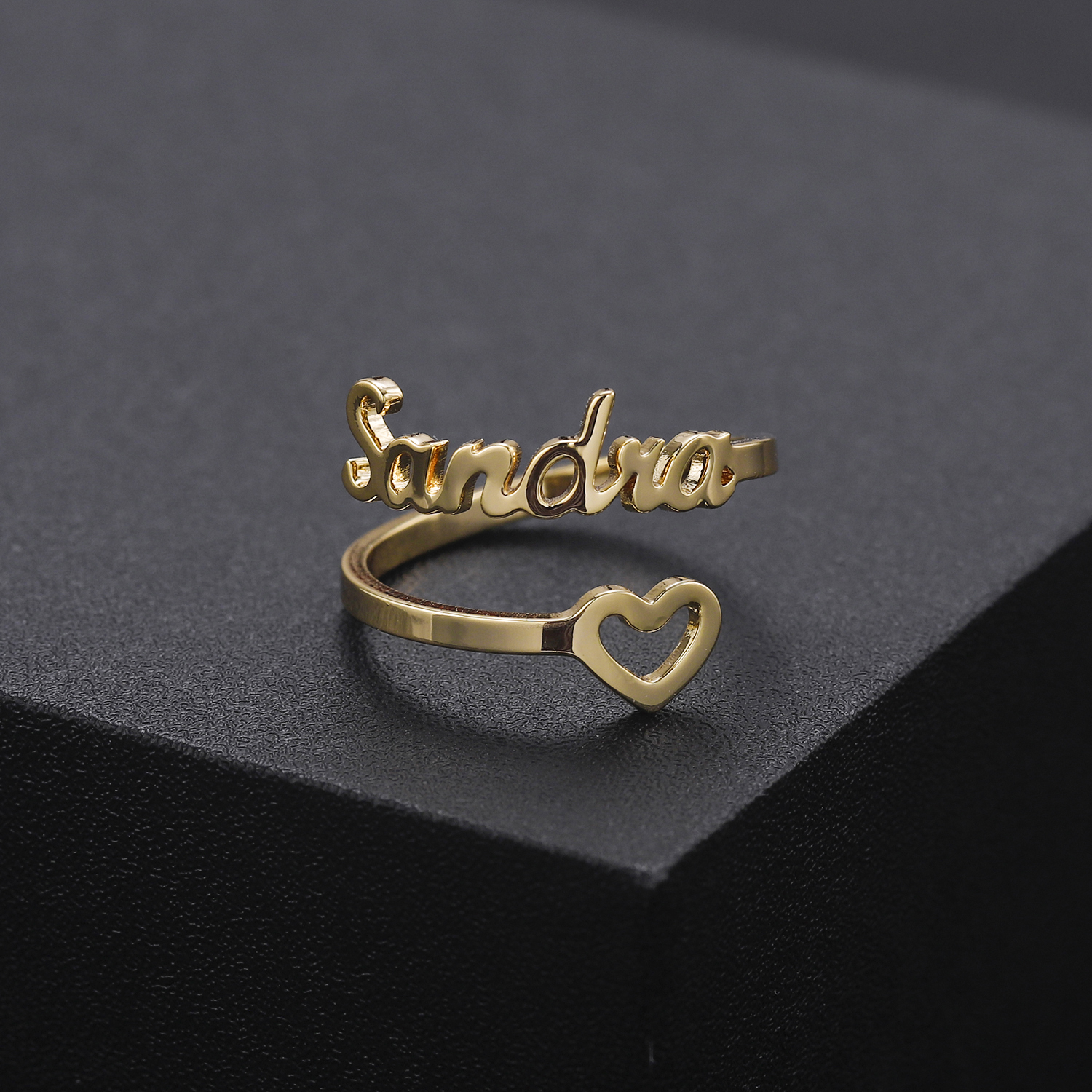 Personalized Hollow Love Name Rings Stainless Steel Adjustable Custom Women Rings Unique Wedding Ring Jewelry Girl Women Gifts