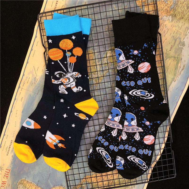Adult Crew Cotton Socks Balloon Astronaut UFO ET Alien Ship Space Flight Aerospace INNCH Original Design 2020 Street Fashion Sox