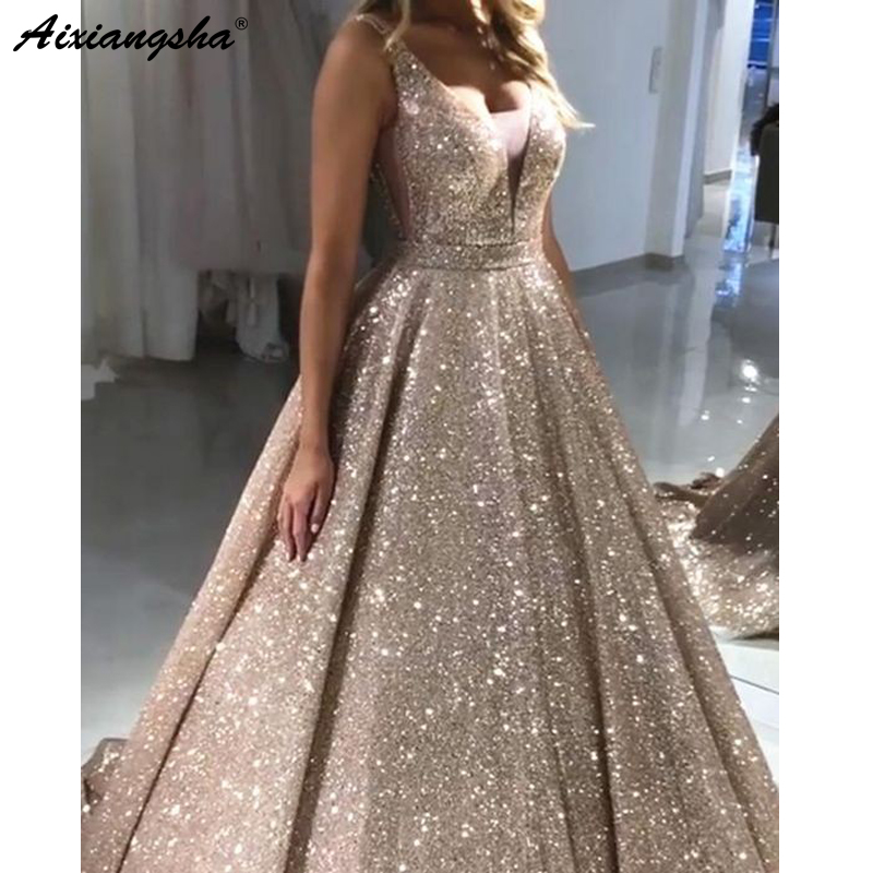 Glittering Gold Sequin Evening Dresses 2019 Backless Evening Party Gowns V-neck Ball Gown Red Prom Dress