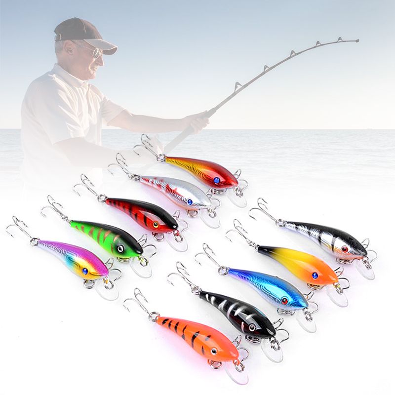 1PC 5.7cm 4.4g Lead Fish Bait Plastic&Metal Lure 10 Colors Simulate Fish Fishing Lures 3D Eyes Artificial Hard Fishing Bait