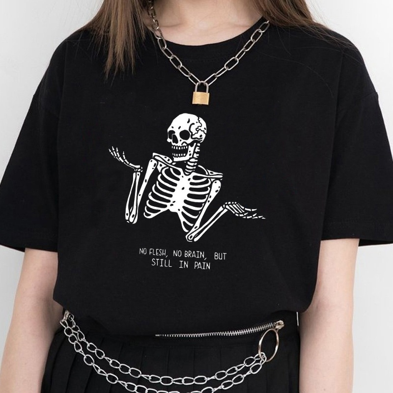 Kuakuayu HJN No Flesh No Brain but Still in Pain Skull Funny Quotes Printed T Shirt Women Short Sleeve Street Style Tee Tops 1