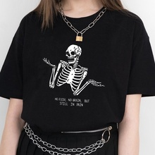 Kuakuayu HJN No Flesh No Brain but Still in Pain Skull Funny Quotes Printed T Shirt Women Short Sleeve Street Style Tee Tops