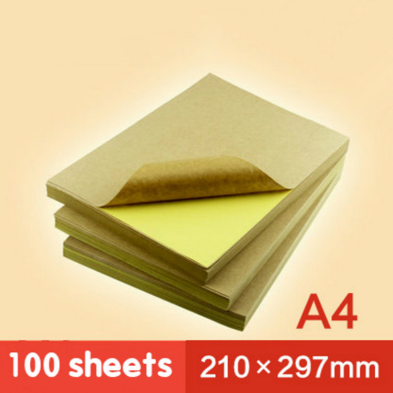 A4 Kraft Paper Handwritten Label Inkjet Laser Printed Adhesive Leather Label Yellow Paper 100 Copies Sticker Paper Printable