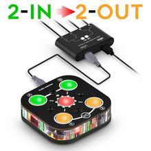 Nobsound מיני 2 IN 2 OUT 3.5mm סטריאו אודיו Switcher תיבת פיצול בורר שליטת אוזניות ספליטר
