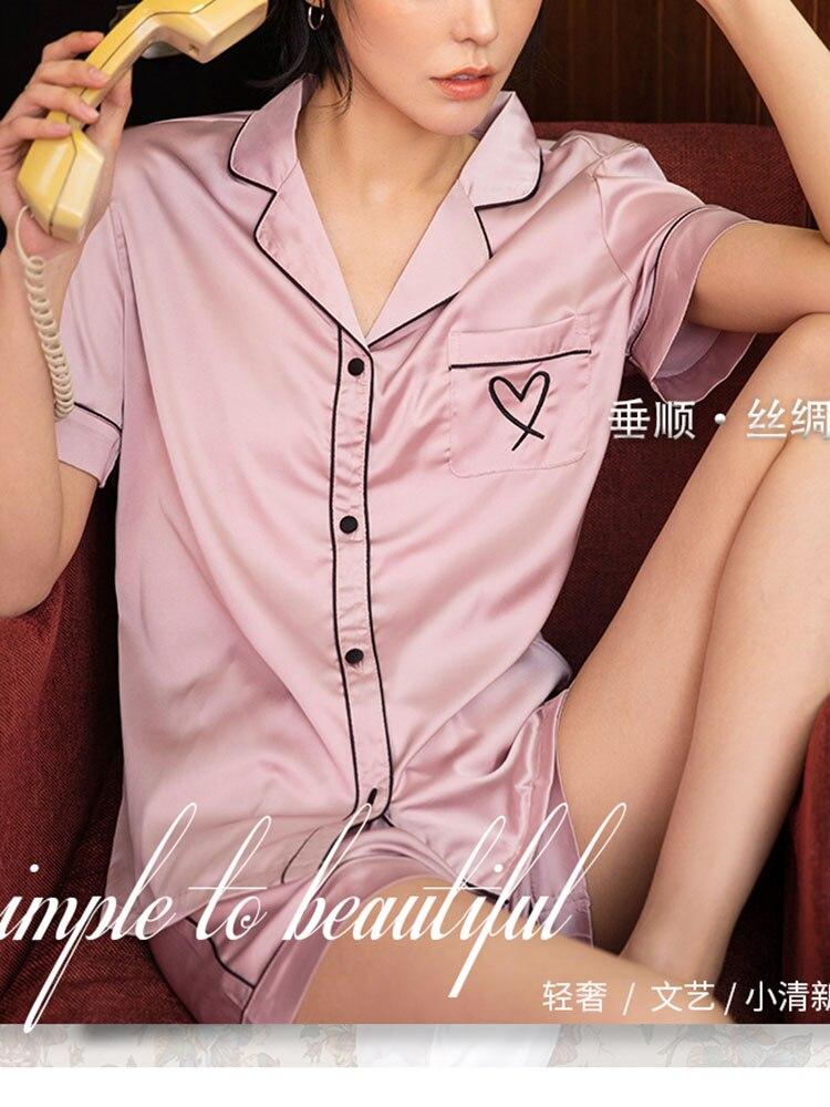 QWEEK Silk Pajamas Nightwear-Set Sleepwear Pj-Set Home-Suit Women