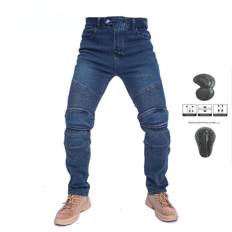 Komine – Jeans de moto brodés pour hommes, Jeans de loisirs d'été pour l'extérieur avec engrenages de protection