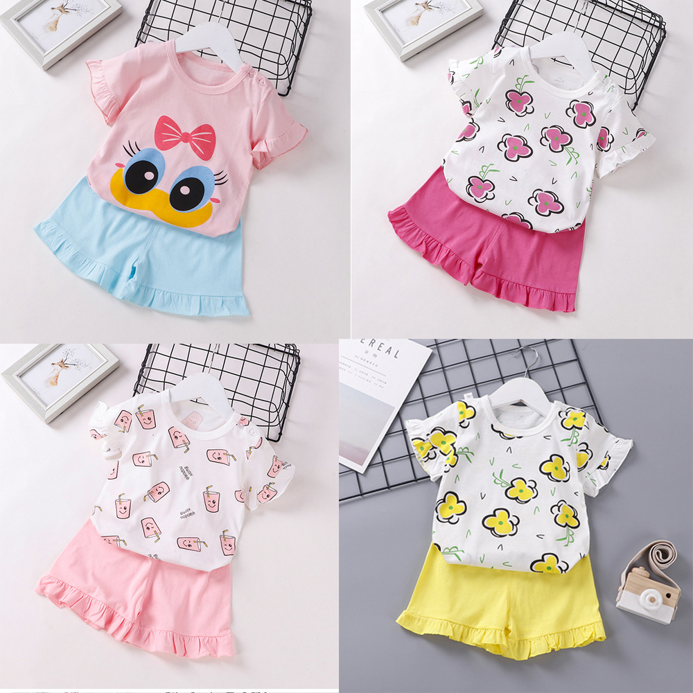 Summer New Children Clothes Girls Cartoon Flower Suit Korean Baby Girls Short Sleeve Set Cute Sweet Plaid Two-piece Suit Outfits