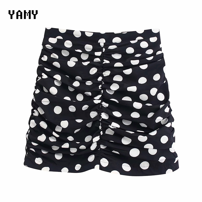 Polka Dots Print Womens Wrap Skirt High Waist Female Casual Office Skirt Fladas Womens Bodycon Sexy Mini Skirt Zora Slim Skirt