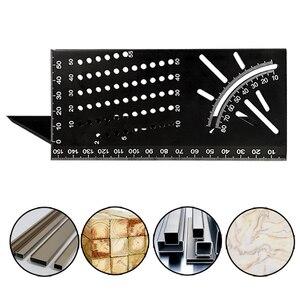 Regla de ángulo multifuncional 45 90 grados aleación de aluminio precisión carpintería Ángulo Cuadrado regla Indicador de marcado herramienta de carpintero
