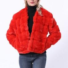 Пальто из искусственного меха размера плюс 4XL женское осенне-зимнее пушистое плюшевое пальто однотонный Кардиган с длинным рукавом теплая мягкая верхняя одежда