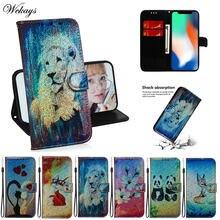 Модный кожаный чехол бумажник с рисунком льва панды и блестками