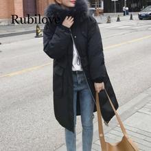 Rubilove Women Fashion Warm Winter Fur Parkas Long Hooded Coat New Plus Size Pocket Winter Jacket Women Solid Outwear Female цены онлайн