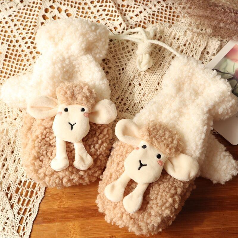 Winter Women's Korean Ins Bear Gloves Kawaii Cute Bear Warm Plush Pink Gloves Children Riding Gloves Double Layer