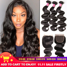 """UNICE Hair Body Wave Bundles With Closure Human Hair Bundles With Closure 8 30"""" Brazilian Hair Weave Bundles DIY Wig By You"""