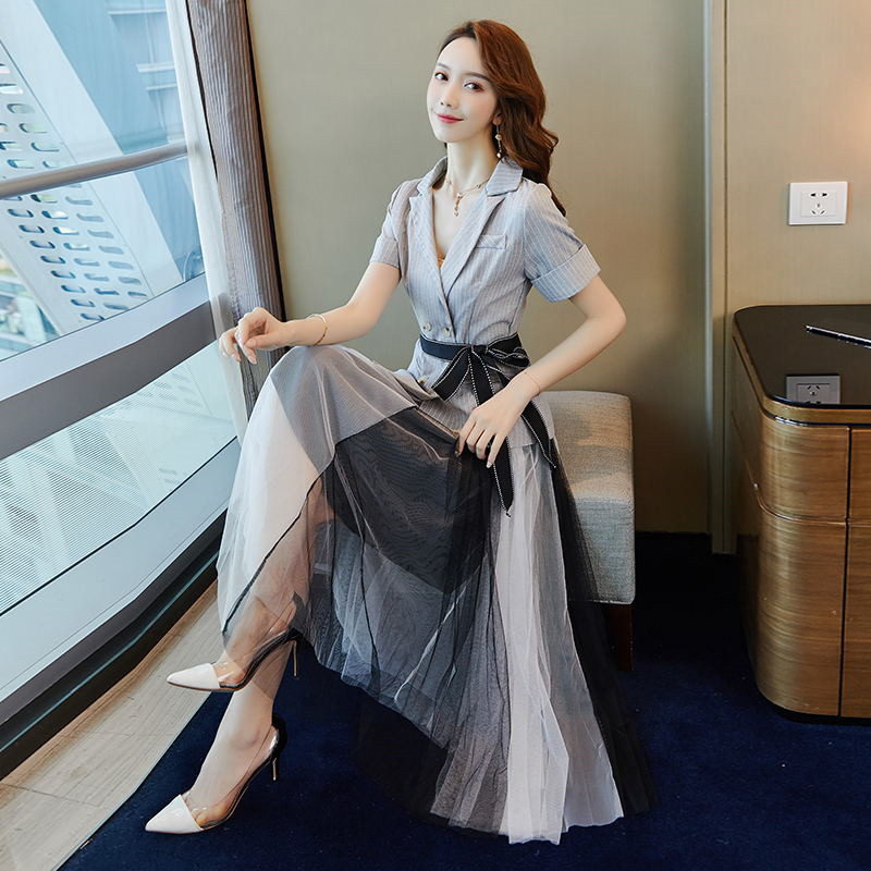 2019 New Fashion Striped Blazer with Mesh Pleated Women Skirt Suit Set Formal Blazer Skirt Set Jacket Skirt Suits