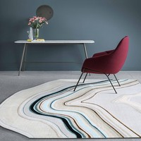 Post modern style irregular shaped abstract art are rug, big size Nordic style decoration woven living room carpet