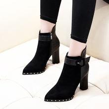 Женские ботинки с заклепками Черные ботильоны на высоком толстом
