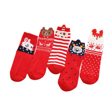 5Pairs / Lot  Childrens Socks CartoonCotton Baby 1-12 Years Old christmas clothes socks kids